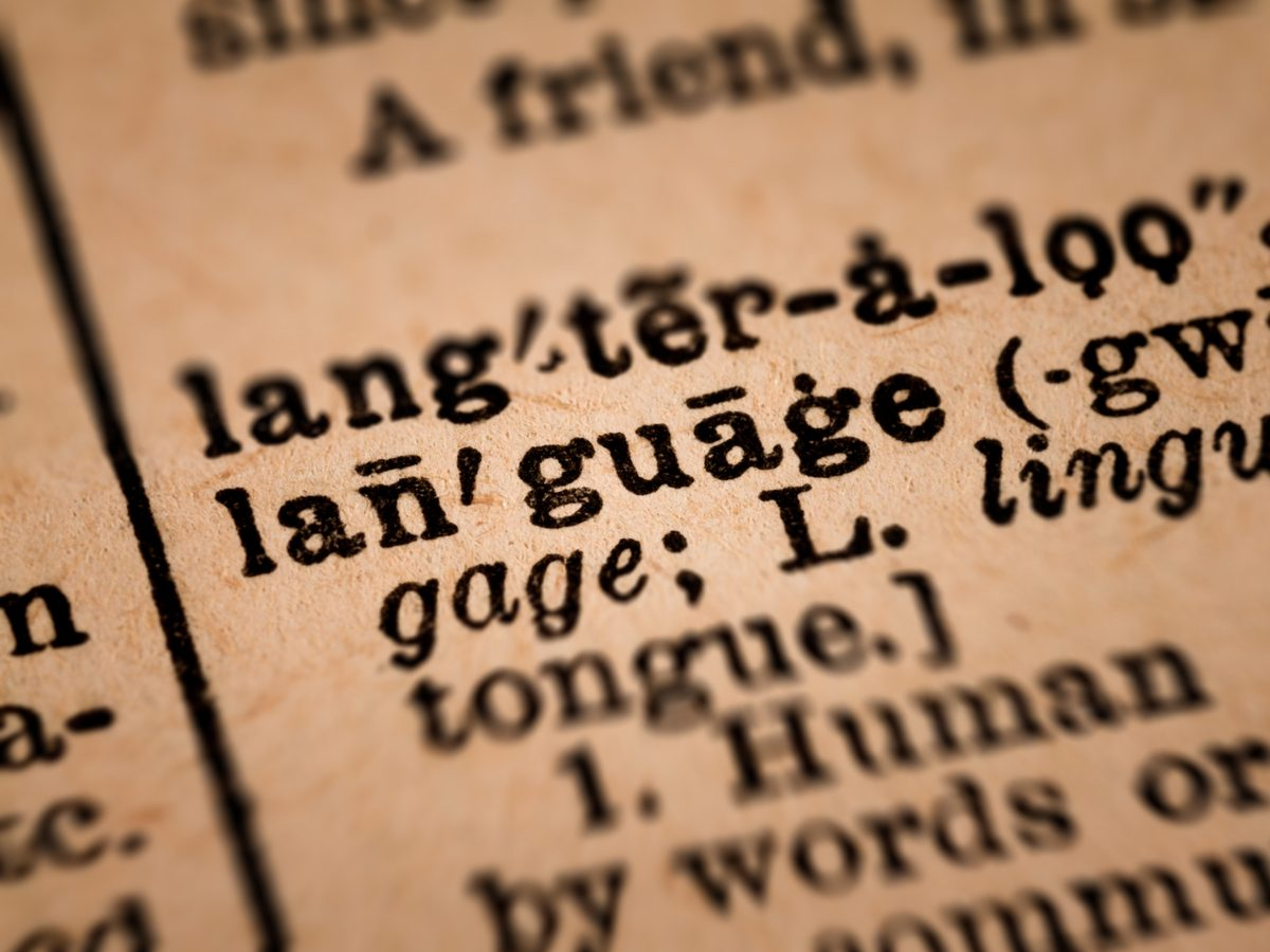 """Close-up of the word """"language"""" in vintage dictionary"""
