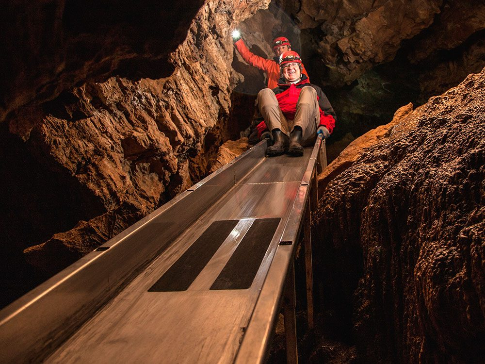 Canadian attractions - cave slide on Vancouver Island