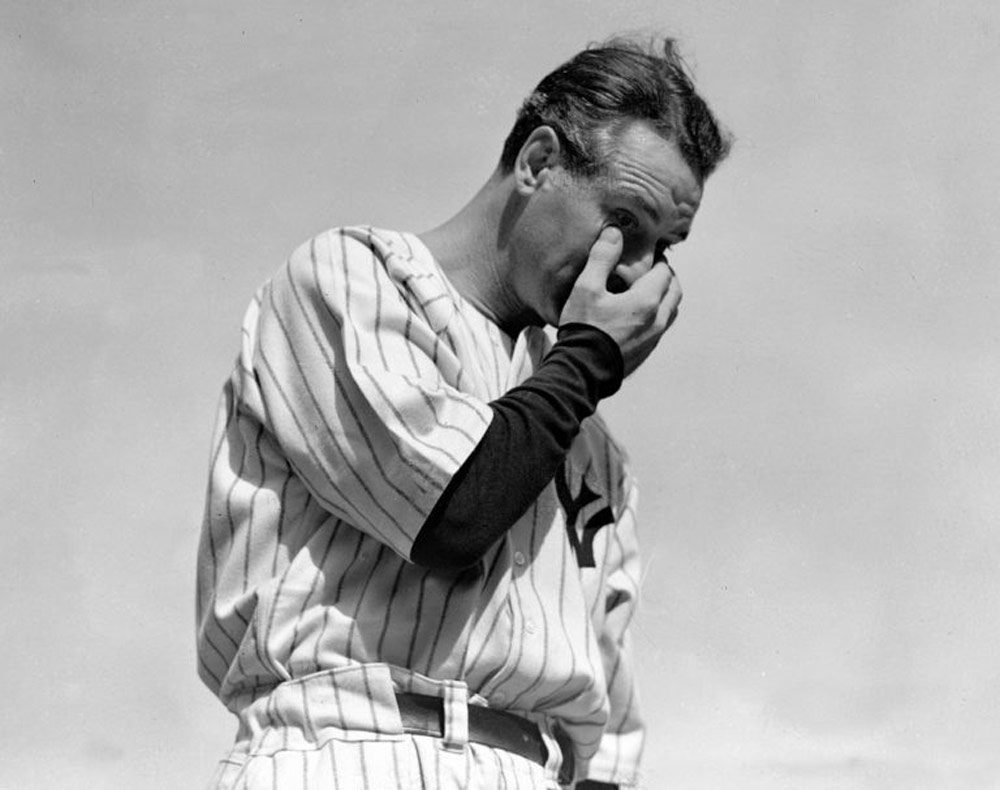 Lou Gehrig at his retirement ceremony