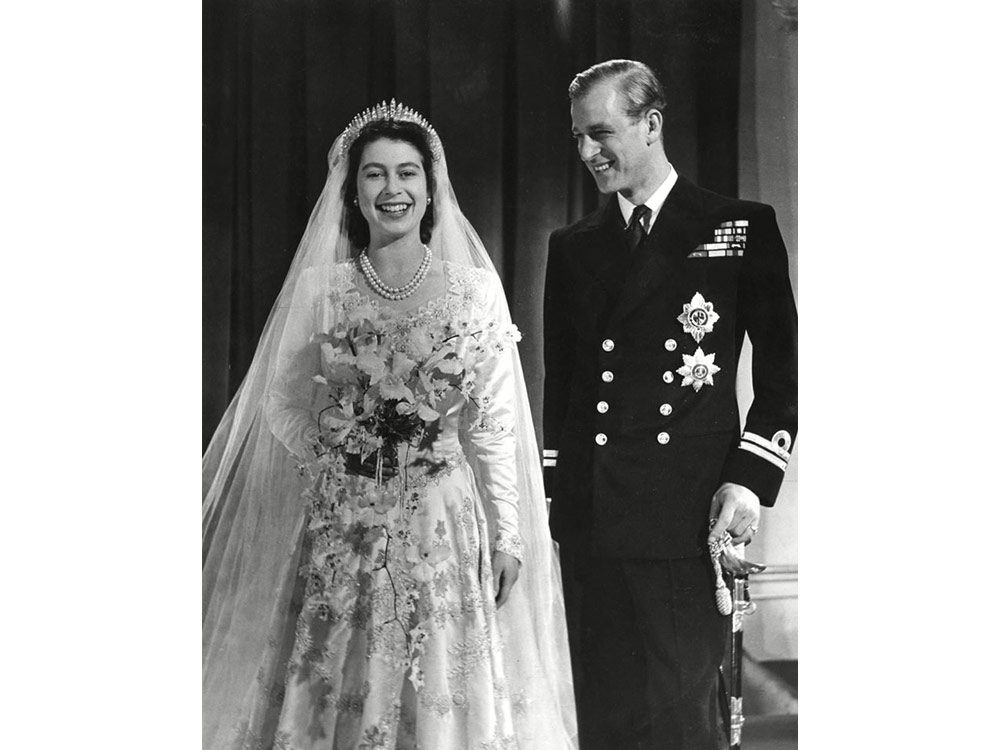 Queen Elizabeth and Prince Philip on their wedding day in 1948