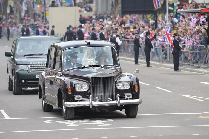 Royal Wedding Today From A Position On Parliament Square. Here Kate Is Driven Along Whitehall On The Way To The Abbey To Be Married. The Royal Wedding Of Prince William Of Wales To Catherine Middleton (kate Middleton) On 29th April 2011. Now Duke And