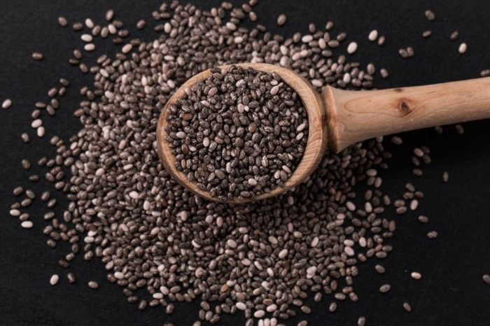 Chia seeds on wood background. protect heart,superfood. Healthy food
