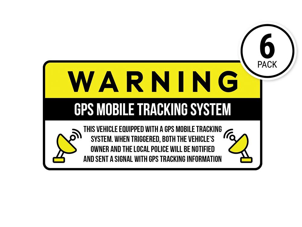 Stickers with GPS tracking warning