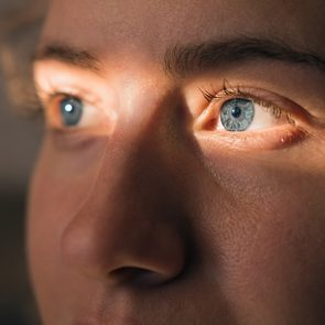 Eye is twitching - close-up of woman's eyes