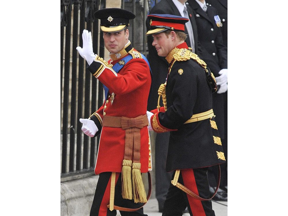 Princes William and Harry on William's wedding day