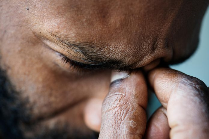 man headache sad anxiety