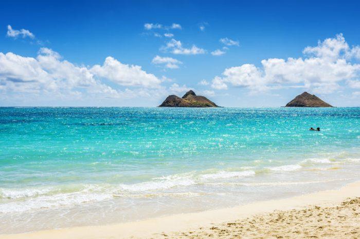 Mokulua Islands as seen from Lanikai Beach in Oahu, Hawaii, USA