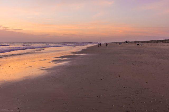 Sunset in Punta Umbria beach, Huelva, Spain