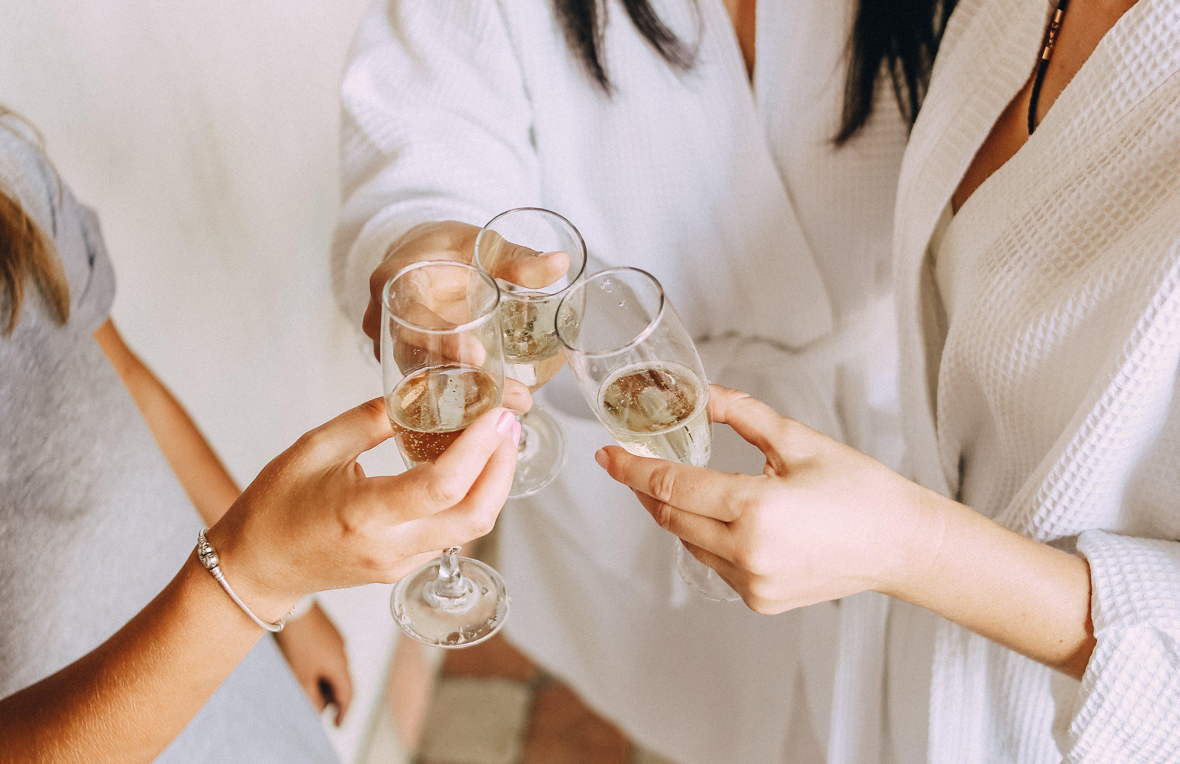 Girls celebrating bachelorette party bride