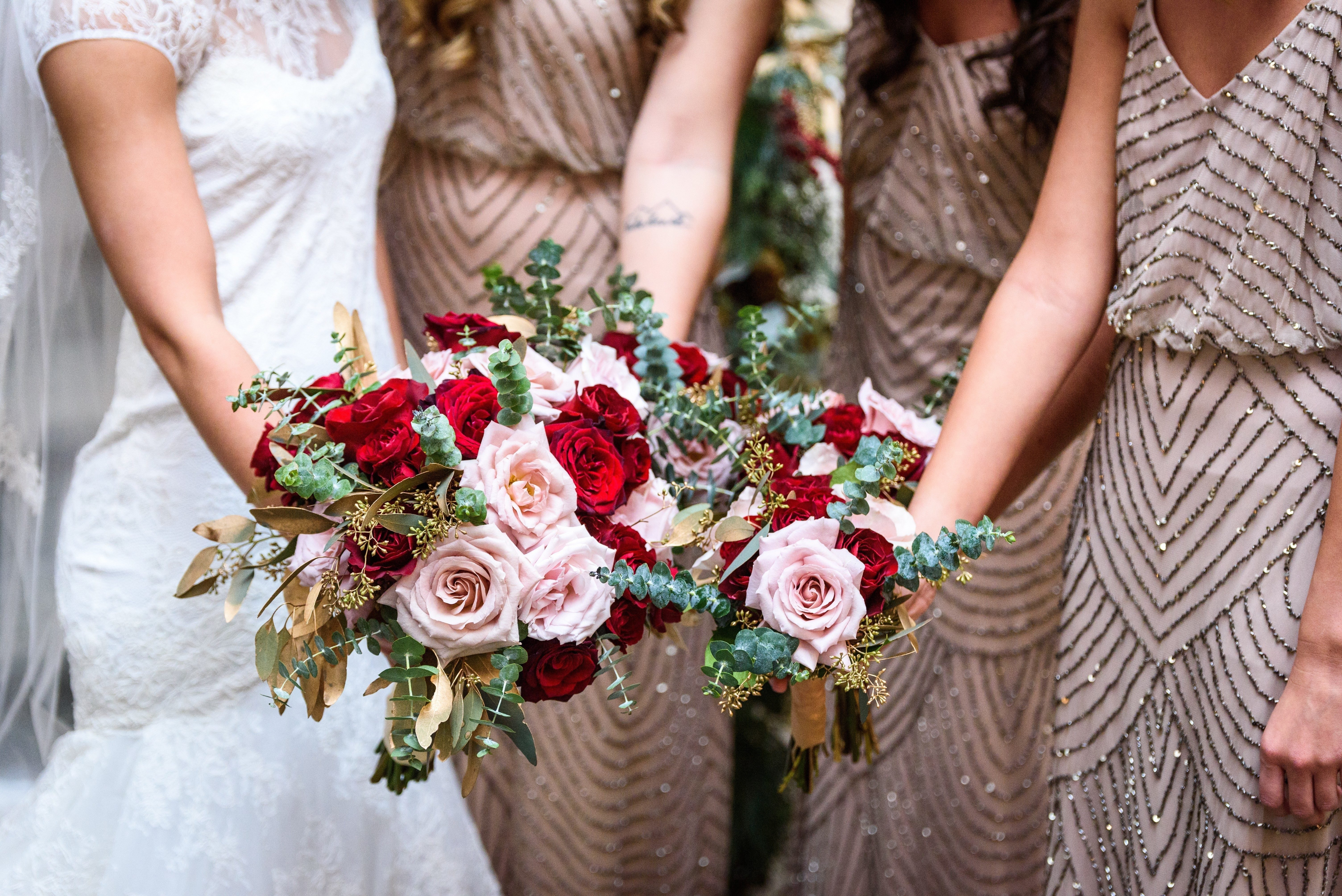 Wedding Dresses, Bridesmaids, and bouquets