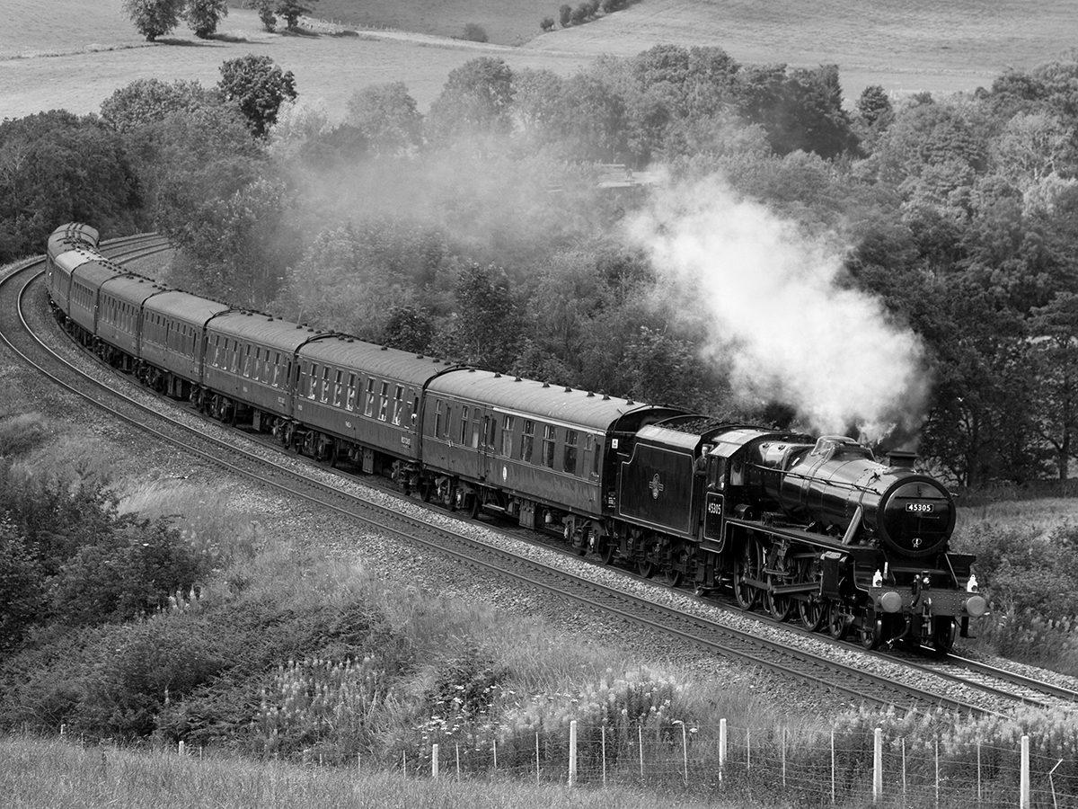 British train in black and white