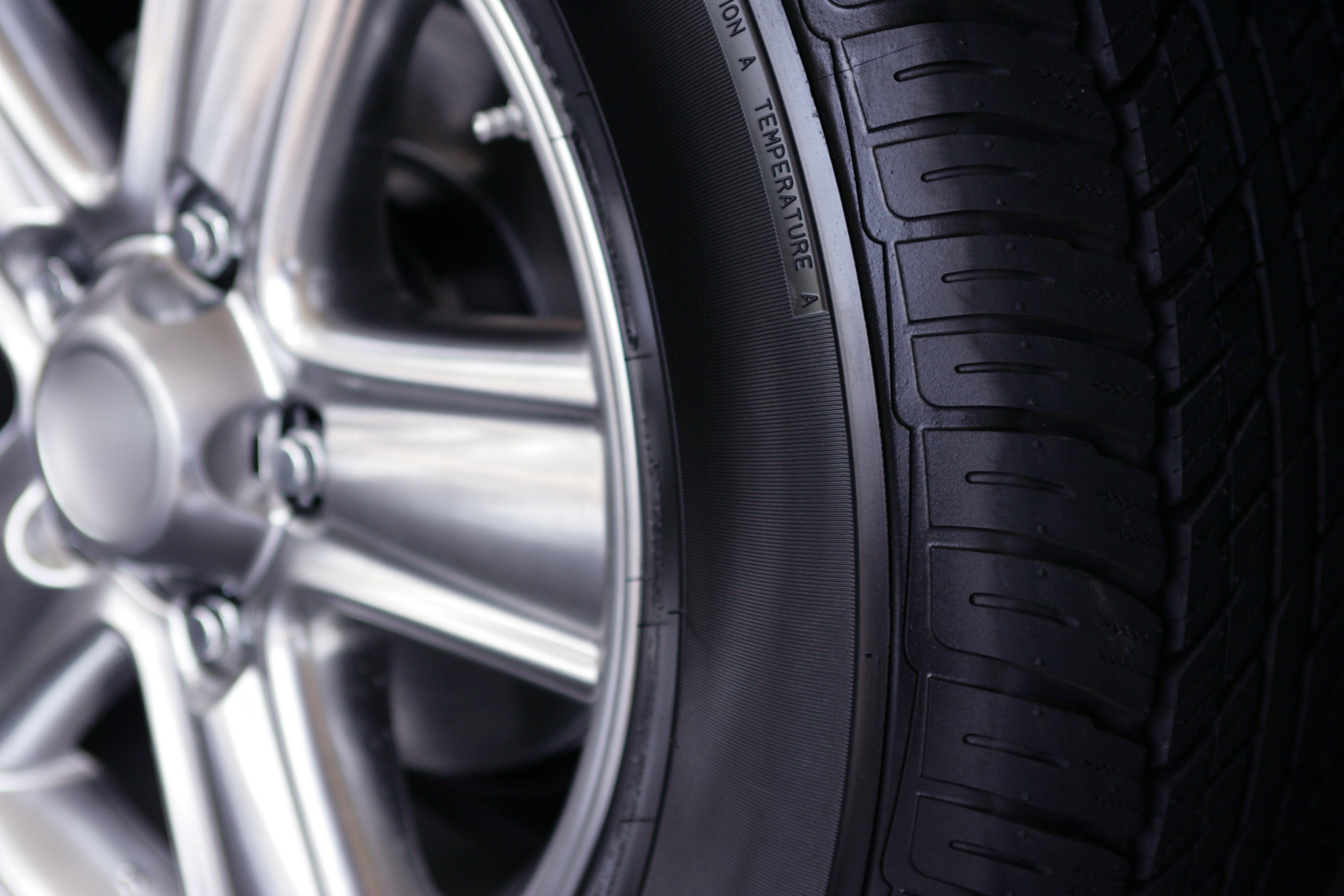 Detail of New Tire and car rim
