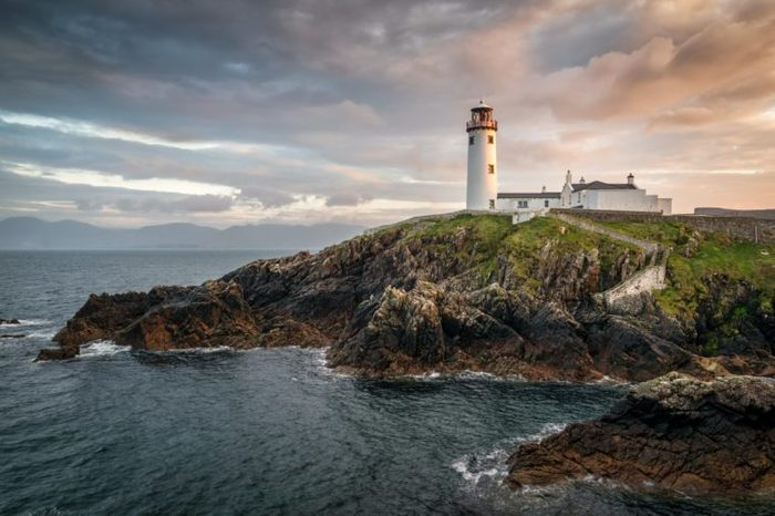 This is a picture of Fanad light house on the north coast of Donegal Ireland. This was taken just before sunset