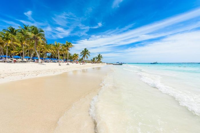 Paradise Beach (also known for Playa Paraiso) at sunny summer day - beautiful and tropical caribbean coast at Tulum in Quintana Roo, Riviera Maya, Cancun, Mexico