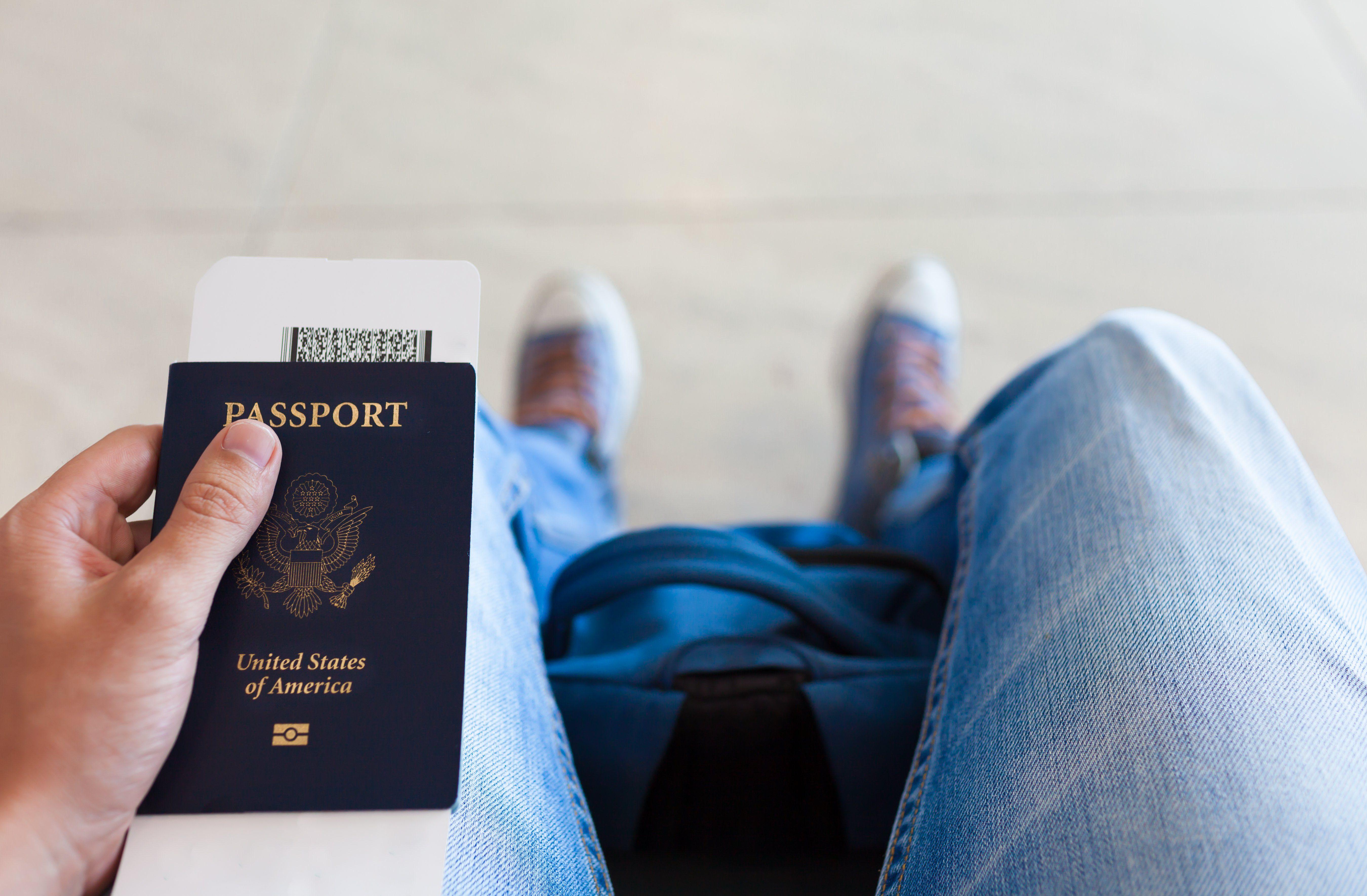 Man holding passport