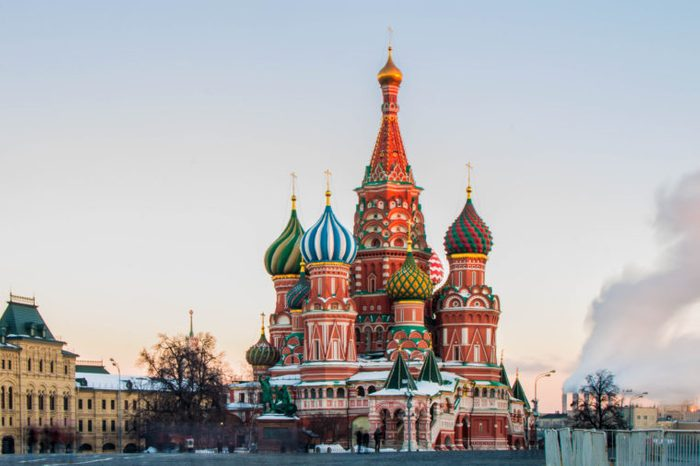 Saint Basil's cathedral in Moscow in winter time