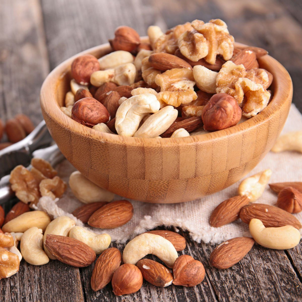 assortment of nuts; Shutterstock ID 225173110; Job (TFH, TOH, RD, BNB, CWM, CM): Taste of Home