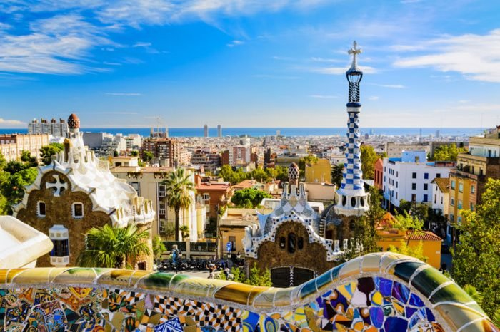 Park Guell in Barcelona, Spain on a sunny day
