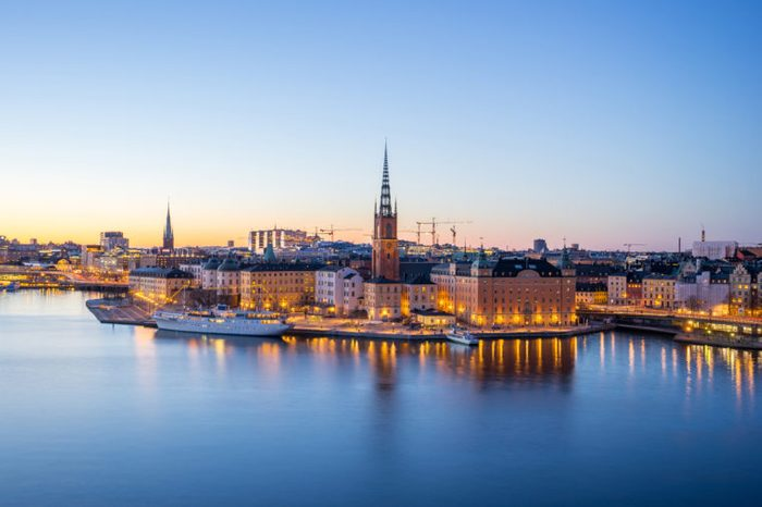 Stockholm city, The Gamla Stan (old town) at night in Stockholm, Sweden.