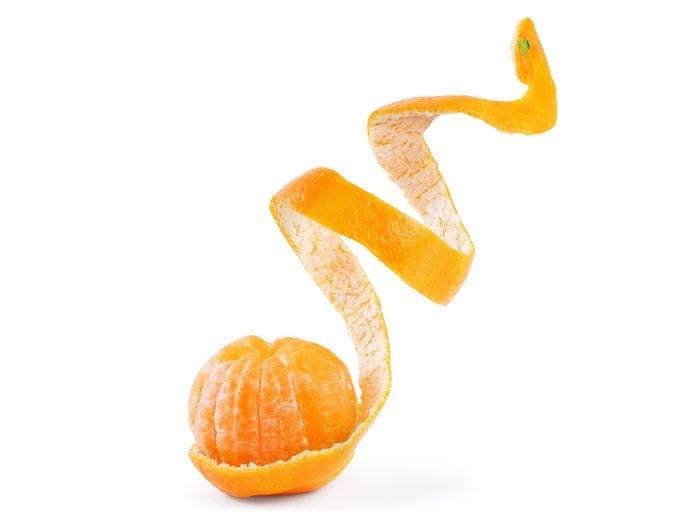 Uses for oranges - orange peel spiral
