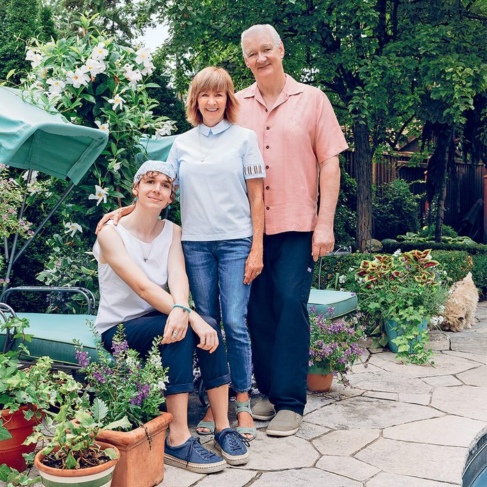Author Debra McGrath at home in Toronto with her husband, Colin Mochrie, and their daughter, Kinley Mochrie