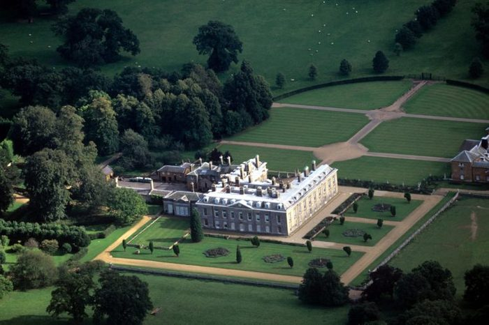 AERIAL VIEW OF THE ALTHORP HOUSE AND THE ISLAND IN THE OVAL LAKE WHERE PRINCESS DIANA IS BURIED, BRITAIN - 1997