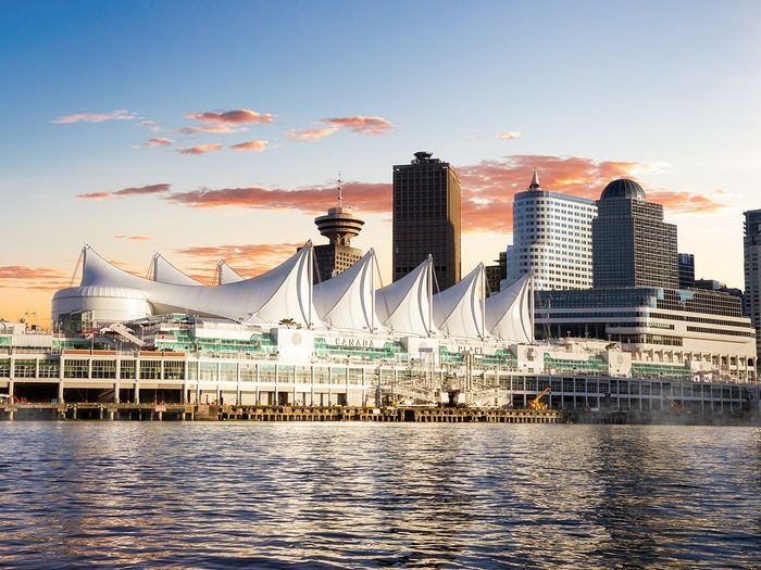 Canada landmarks - Canada Place in Vancouver at sunset