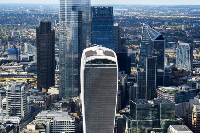Aerial view over London financial district and city skyscrapers