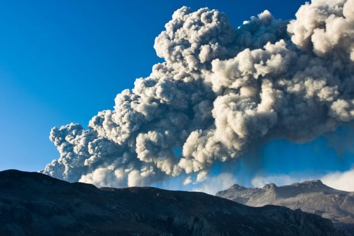 EYJAFJALLAJOKULL, ICELAND - MAY 12: Mount Eyjafjallajokull erupting in Iceland May 12 2010, Ash plume being ejected into the jet stream causing disruptions in international flights