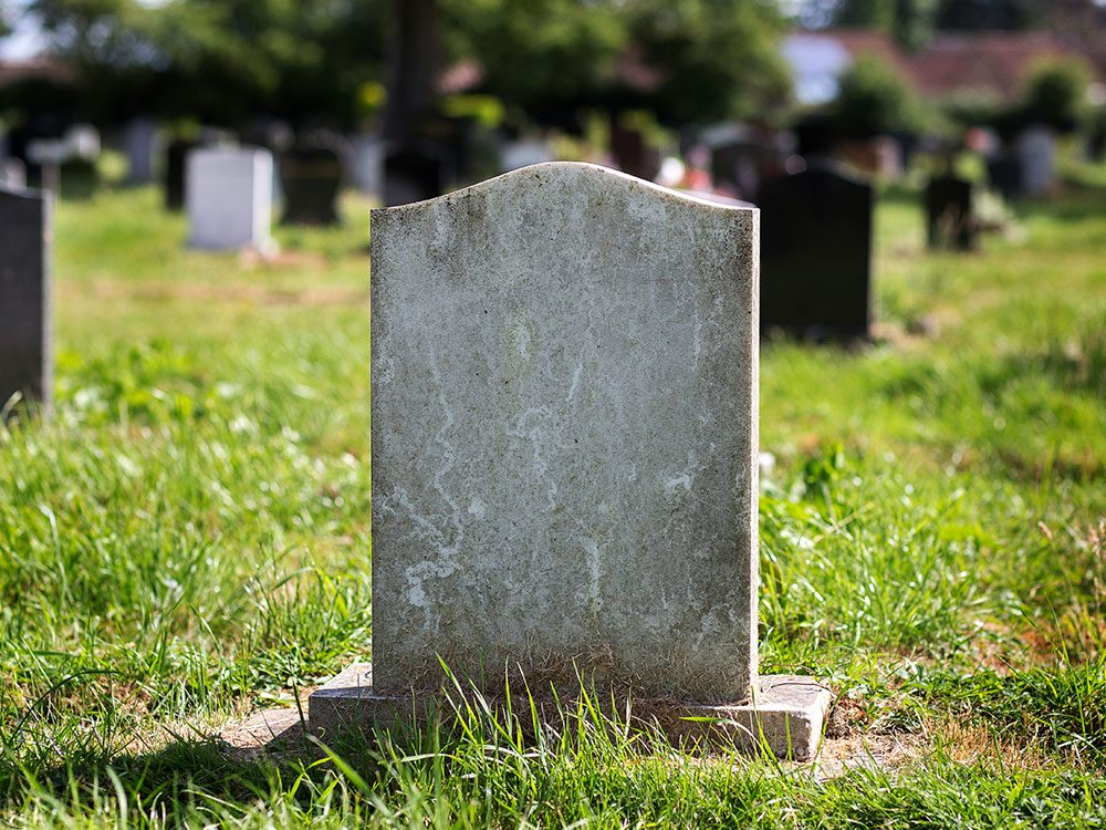 Outrageous news stories - faked death cemetery gravestone