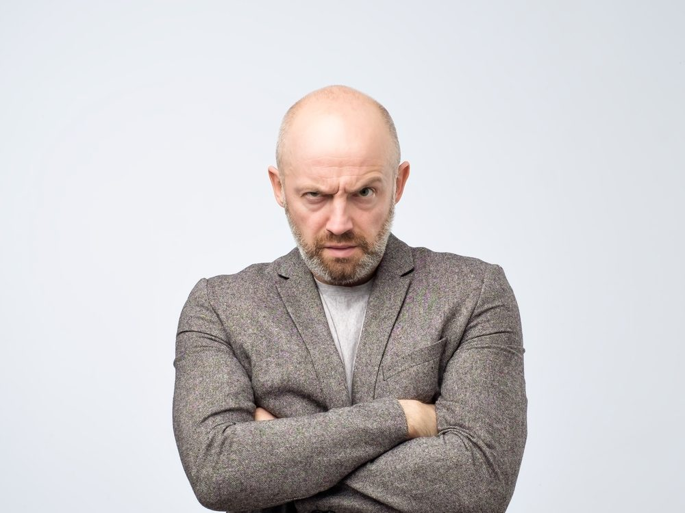 Angry middle-aged man