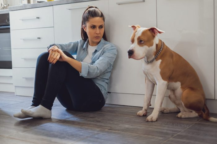 Woman sitting on the kitchen floor mad on her dog who is sad
