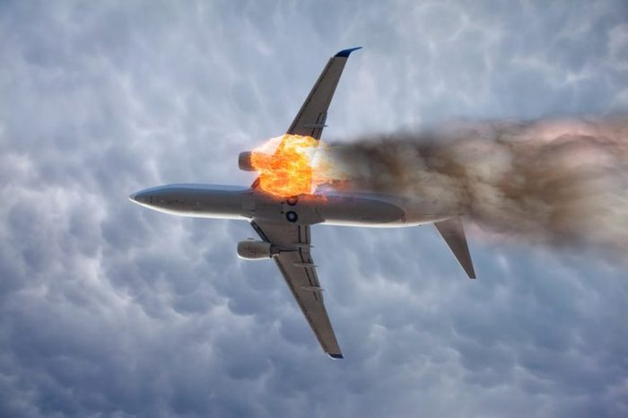Jet carrier and engine on fire