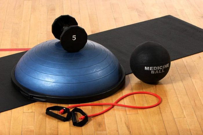 Work out equipment in the gym