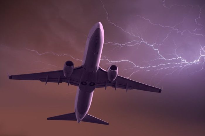 thunderstorm over the aircraft