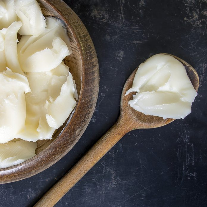 Lard on dark rustic background; Shutterstock ID 566564704