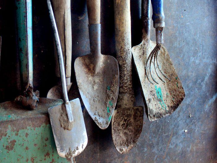 Dirty garden tools