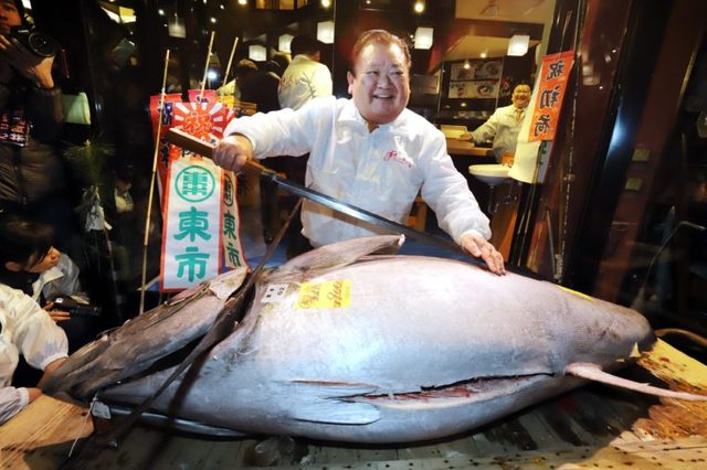 Tuna Auction at Tsukiji fish market, Tokyo, Japan - 04 Jan 2018