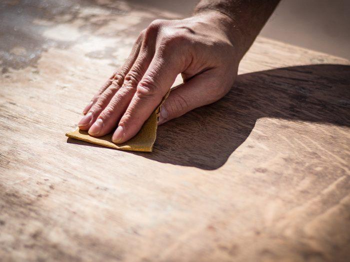 Sanding wood surface