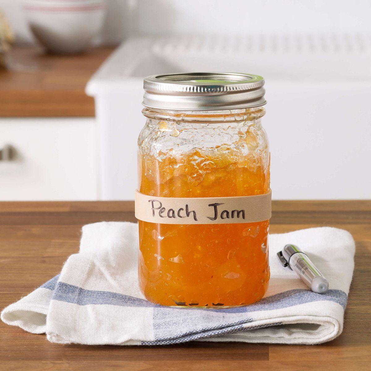 peach jam with rubber band label