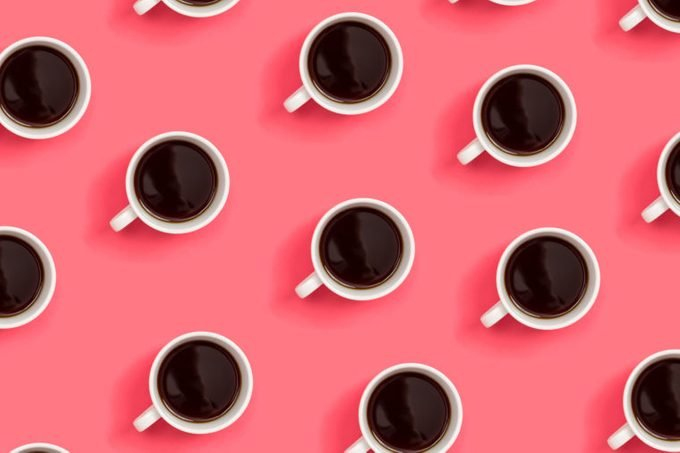 Collection of coffee cups overhead view flat lay