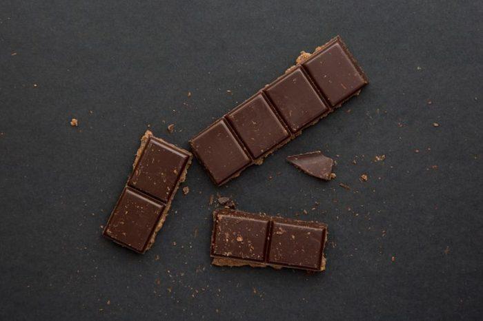 dark chocolate on the dark beckground