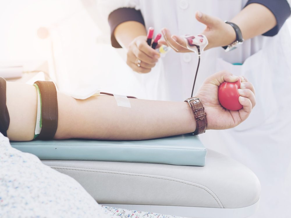 donating blood arm