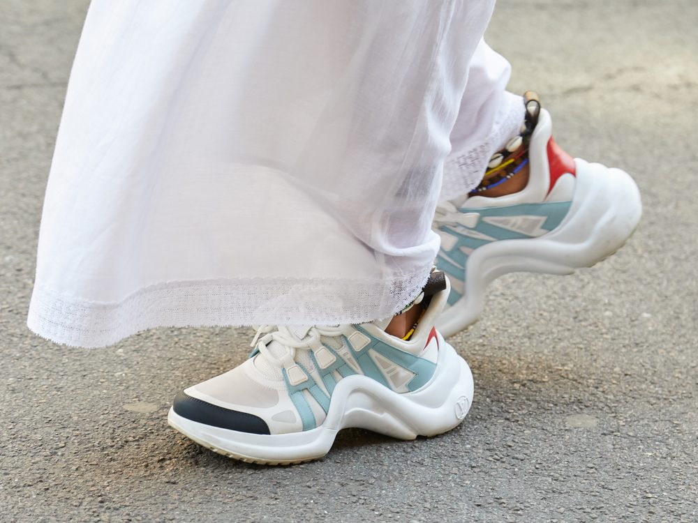 Blue and white Louis Vuitton sneakers