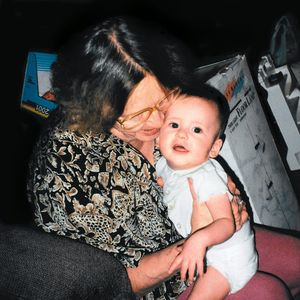 Grandma Norah with Tara's on, Chris, in 1995