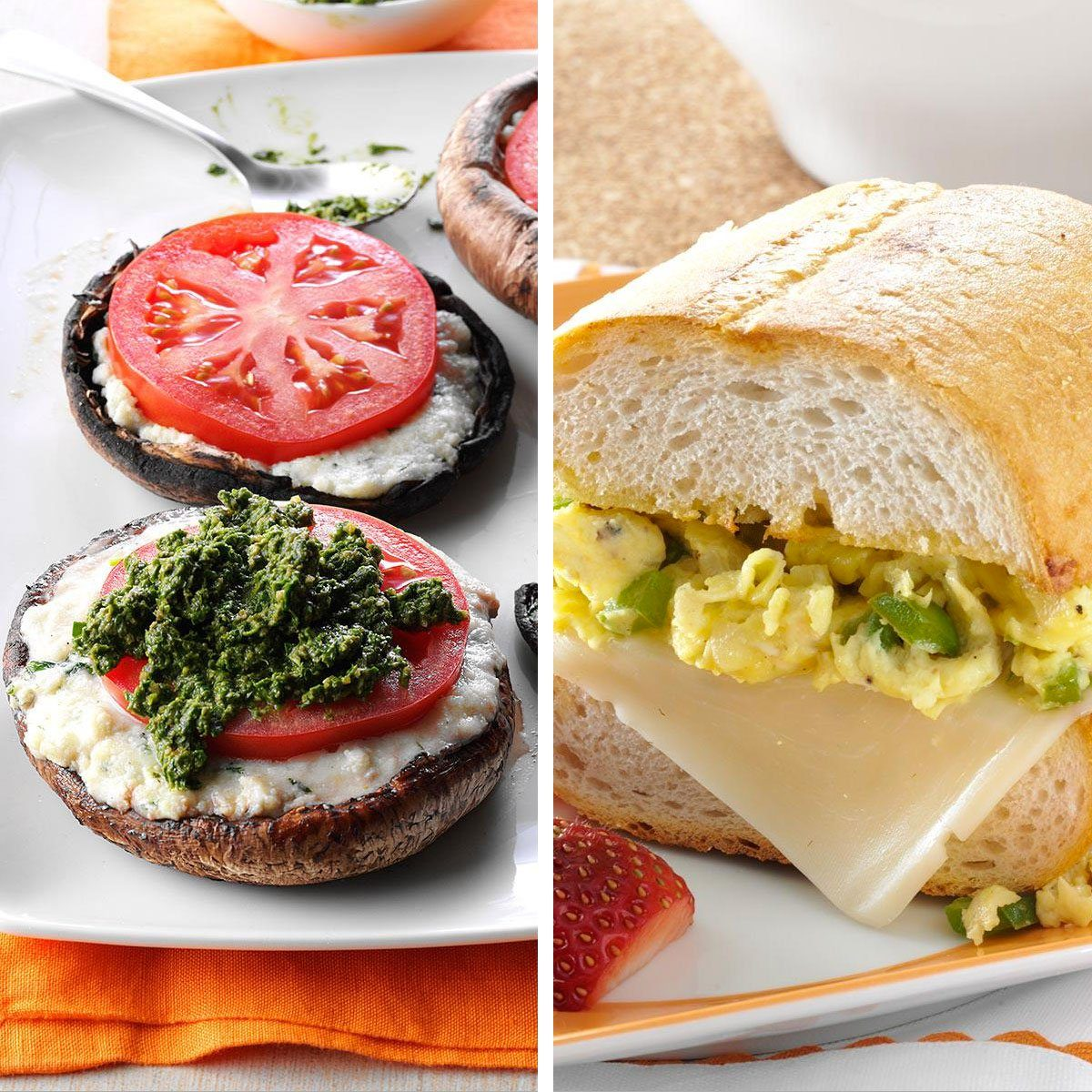 Mushroom and traditional bread sandwiches side by side