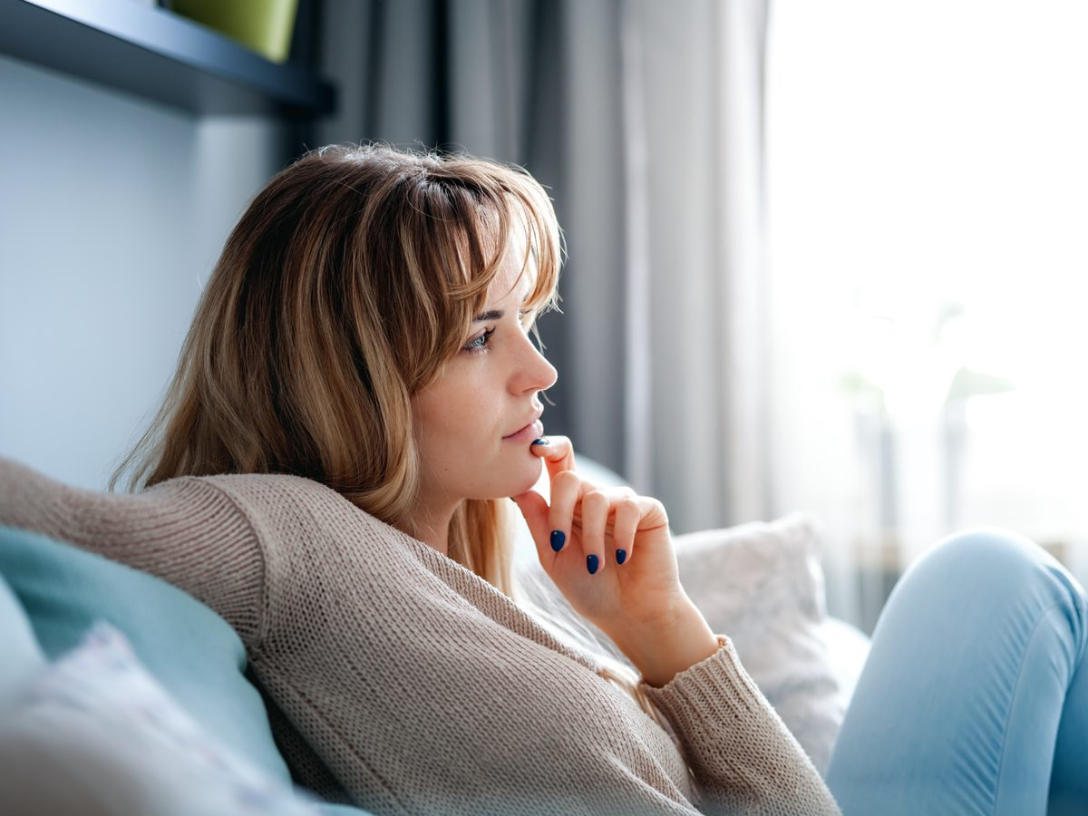 Woman lost in thought