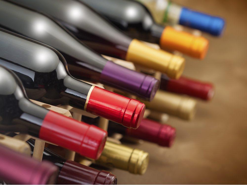 Storing wine on a wine rack