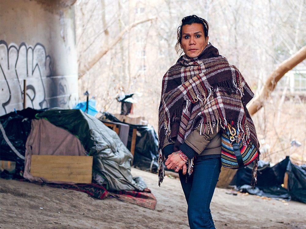 Sabrina, 42, sleeps under a TTC tunnel in the Rosedale Valley ravine