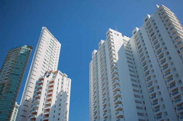 Tall apartment buildings in the modern section of Cartagena, Colombia 2014.